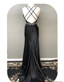 Tiffany Designs Black Size 8 Train Side slit Dress on Queenly