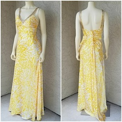 Queenly size 6 Morgan & Co Yellow Train evening gown/formal dress