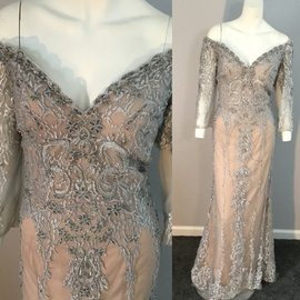Jovani Silver Size 12 Nude Lace Plus Size Straight Dress on Queenly