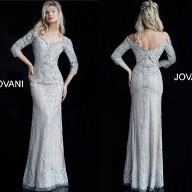 Queenly size 12 Jovani Silver Straight evening gown/formal dress