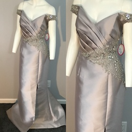 Queenly size 14 Eleni elias Silver Mermaid evening gown/formal dress