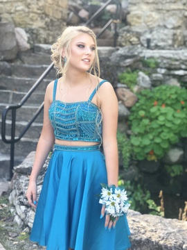 Queenly size 2 Blush Blue Cocktail evening gown/formal dress