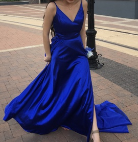 Sherri Hill Blue Size 2 Train Side Slit Ball gown on Queenly