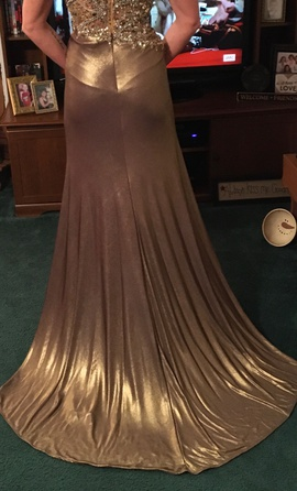 Gold Size 2 Train Dress on Queenly