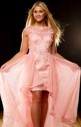 Sherri Hill Pink Size 4 High Low Cocktail Dress on Queenly