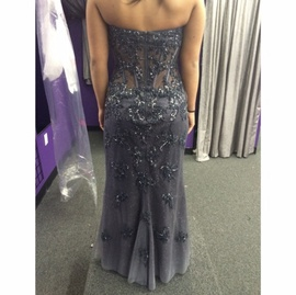 Jovani Blue Size 8 Sweetheart Side slit Dress on Queenly