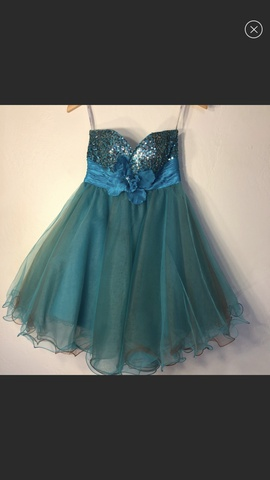 Sherri Hill Blue Size 4 Teal Jewelled Sequin Ball gown on Queenly