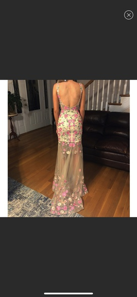 Sherri Hill Nude Size 0 Prom Sheer Floral Straight Dress on Queenly