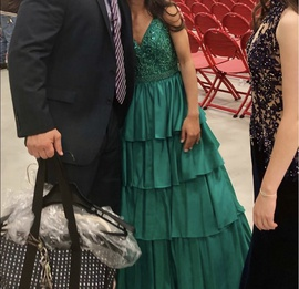 Sherri Hill Green Size 0 A-line Dress on Queenly