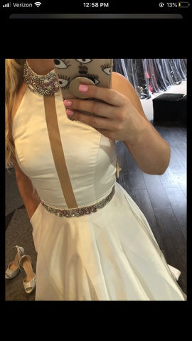 Sherri Hill White Size 2 Halter Sheer Ball gown on Queenly