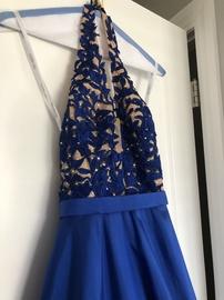 Sherri Hill Blue Size 0 Train Dress on Queenly