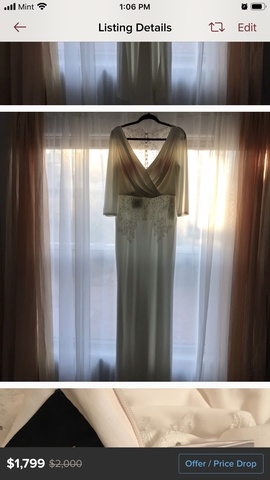 Queenly size 12  White Straight evening gown/formal dress