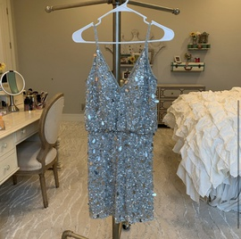 Sherri Hill Silver Size 4 Pageant Jersey Cocktail Dress on Queenly
