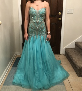 Queenly size 2 Angela & Alison Blue Train evening gown/formal dress