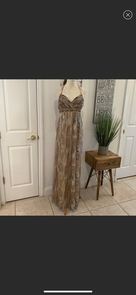 Queenly size 16 Faviana Gold A-line evening gown/formal dress