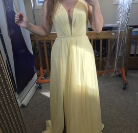Queenly size 8 Faviana Yellow Side slit evening gown/formal dress