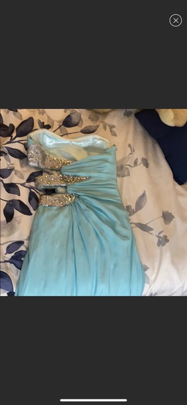 Faviana Blue Size 0 Strapless Cut Out Ball gown on Queenly