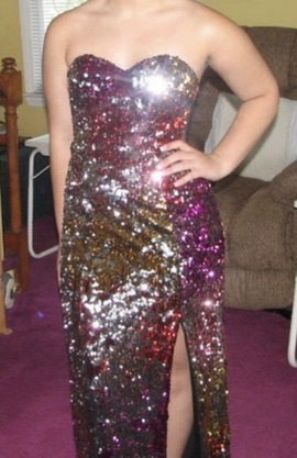 Faviana Multicolor Size 2 Strapless Sequin Side slit Dress on Queenly