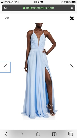 Queenly size 8 Faviana Blue Side slit evening gown/formal dress