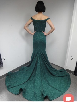 Jovani Green Size 12 Plus Size Train Dress on Queenly