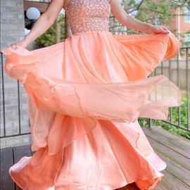 Queenly size 6 Sherri Hill Orange Mermaid evening gown/formal dress