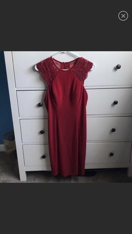 Faviana Red Size 8 Homecoming Lace Cocktail Dress on Queenly