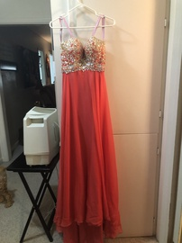 Blush Pink Size 2 Jewelled Sequin Train Dress on Queenly