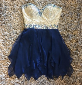 Sherri Hill Blue Size 4 Fun Fashion Cocktail Dress on Queenly