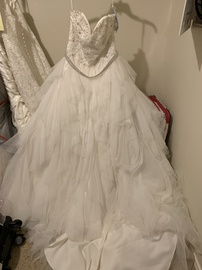 Queenly size 14 Mori Lee White Ball gown evening gown/formal dress