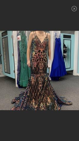 Queenly size 2 Rachel Allan Multicolor Mermaid evening gown/formal dress