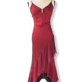 Faviana Red Size 4 Fun Fashion Sheer Train Dress on Queenly