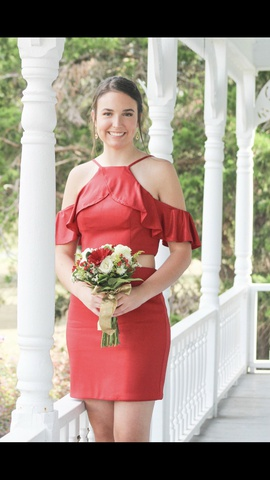 Queenly size 6 Rachel Allan Red Straight evening gown/formal dress