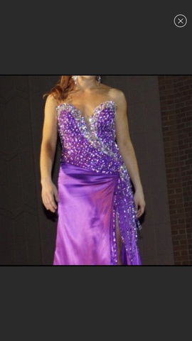 Queenly size 4 Mac Duggal Purple Side slit evening gown/formal dress
