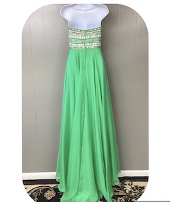 Queenly size 2 Sherri Hill Green A-line evening gown/formal dress