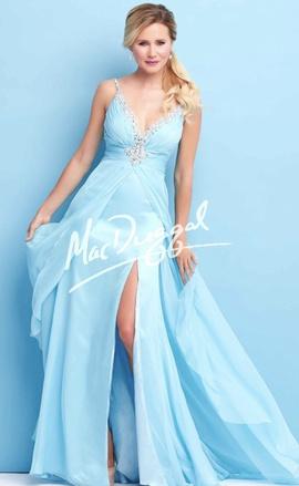 Mac Duggal Blue Size 8 Sweetheart Macduggal Side slit Dress on Queenly