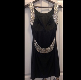 Sherri Hill Black Size 6 Backless Jewelled Sequin Cocktail Dress on Queenly