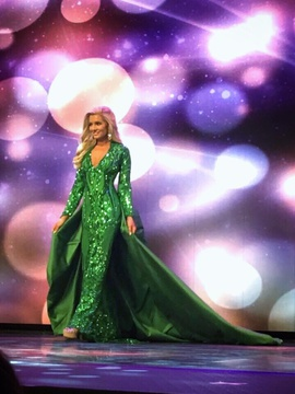 Custom Made Green Size 4 Custom Showstopper Bodycon Jersey Train Dress on Queenly