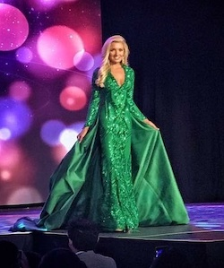 Queenly size 4 Custom Made Green Train evening gown/formal dress