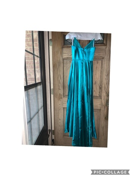 Sherri Hill Blue Size 2 Teal Side slit Dress on Queenly