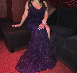 Queenly size 4  Multicolor Side slit evening gown/formal dress