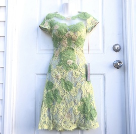 Jovani Green Size 0 Sheer A-line Dress on Queenly