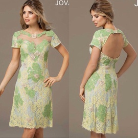 Jovani Green Size 00 Polyester Padded A-line Dress on Queenly
