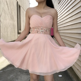 Jovani Pink Size 0 Homecoming Sweetheart Strapless Cocktail Dress on Queenly