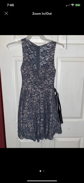 Queenly size 4 Jodi Kristopher Silver A-line evening gown/formal dress