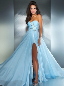 Mac Duggal Blue Size 10 Sweetheart Macduggal Fitted Side slit Dress on Queenly