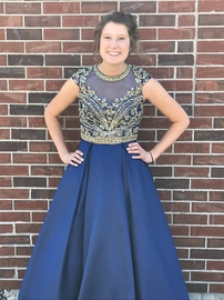 Mac Duggal Blue Size 6 Pockets Jewelled Sequin A-line Dress on Queenly