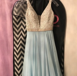 Sherri Hill Blue Size 2 Plunge A-line Dress on Queenly