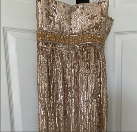 Sherri Hill Gold Size 8 Belt Strapless Shiny Side slit Dress on Queenly