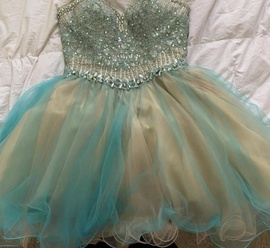 Queenly size 8 Terani Couture Blue Cocktail evening gown/formal dress