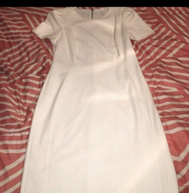 Queenly size 8 Calvin Klein White Straight evening gown/formal dress